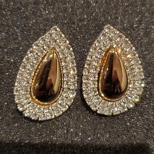 Sparkling Gold Stainless Zirconia Eye Drop Earring
